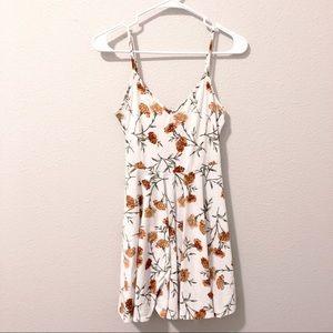 F21 White Floral Flowy Tank Top Dress